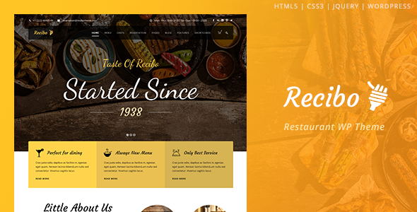 Recibo - Restaurant WordPress