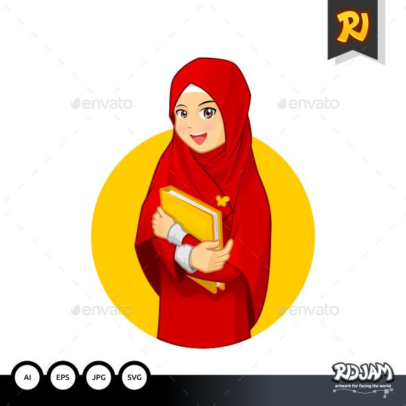 Muslim Woman Hugging a Book Wearing Red Veil