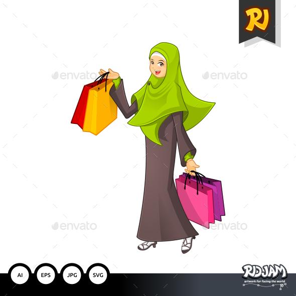 Muslim Woman Holding a Shopping Bag