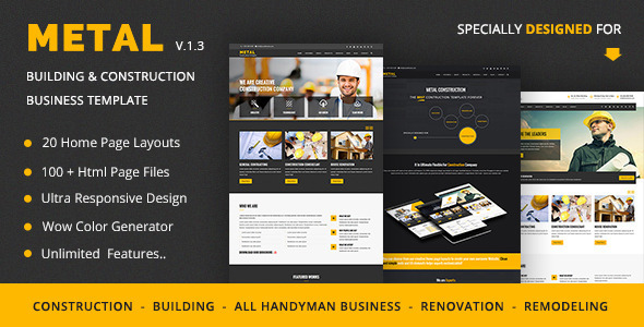 Metal – Mobile Friendly Building & Construction Business Template