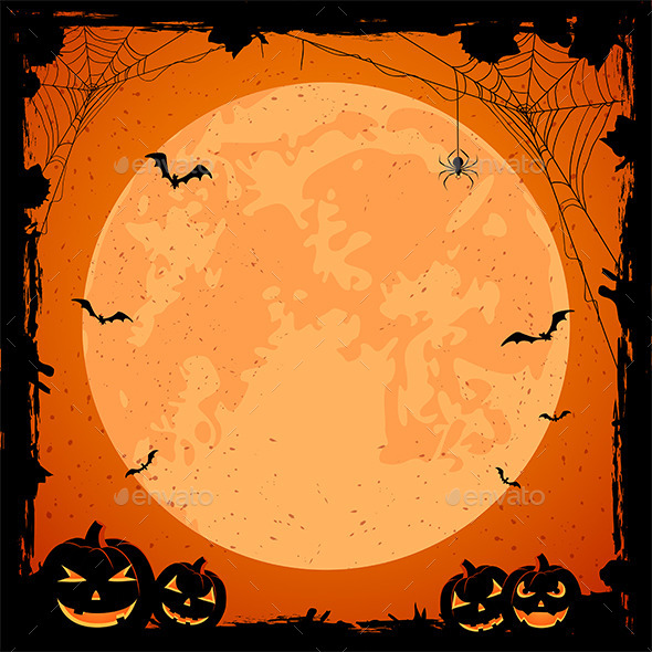 Halloween Background with Moon and Pumpkins