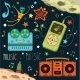Set Of Musical And Space Elements - GraphicRiver Item for Sale