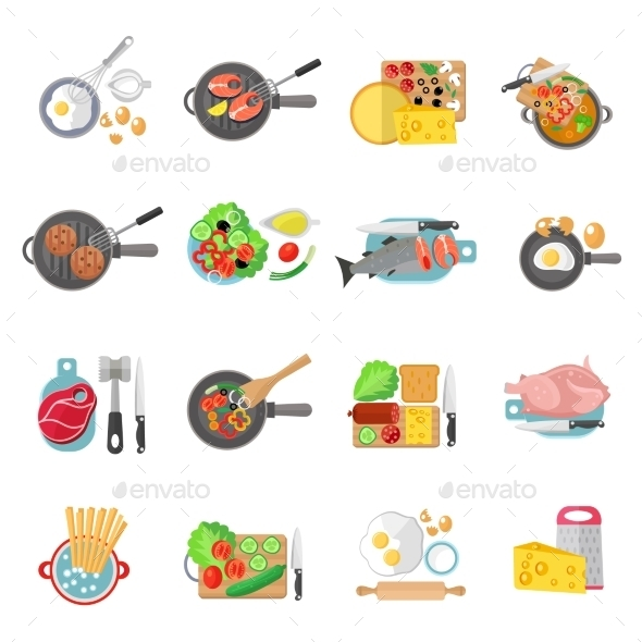 Home Cooking Flat Icons Set