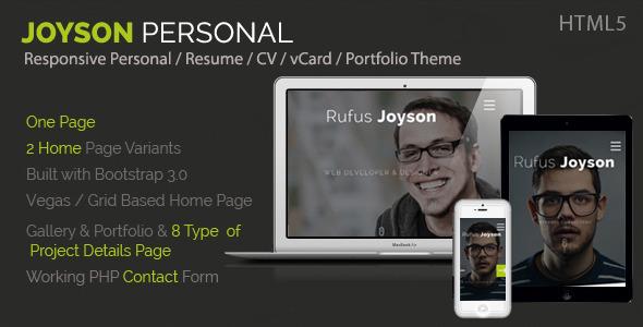 Joyson Personal - Resume / CV Vcard Portfolio HTML