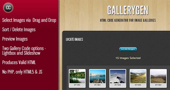 GalleryGen -  Image Gallery HTML Code Generator