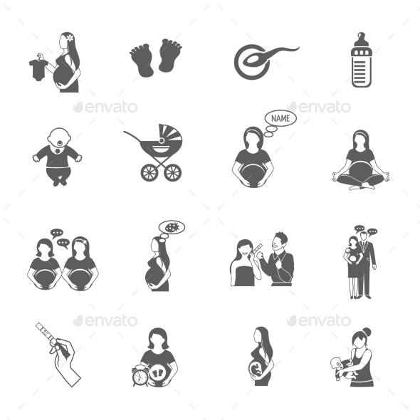 Pregnancy Black Icon Set