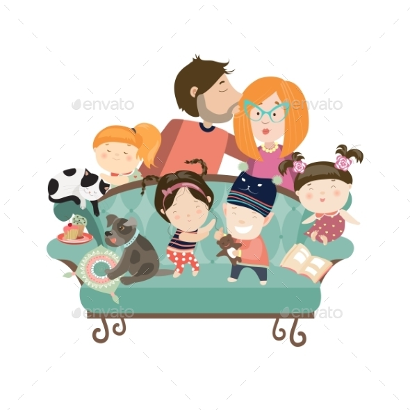 Happy Kids with Parents and Pets