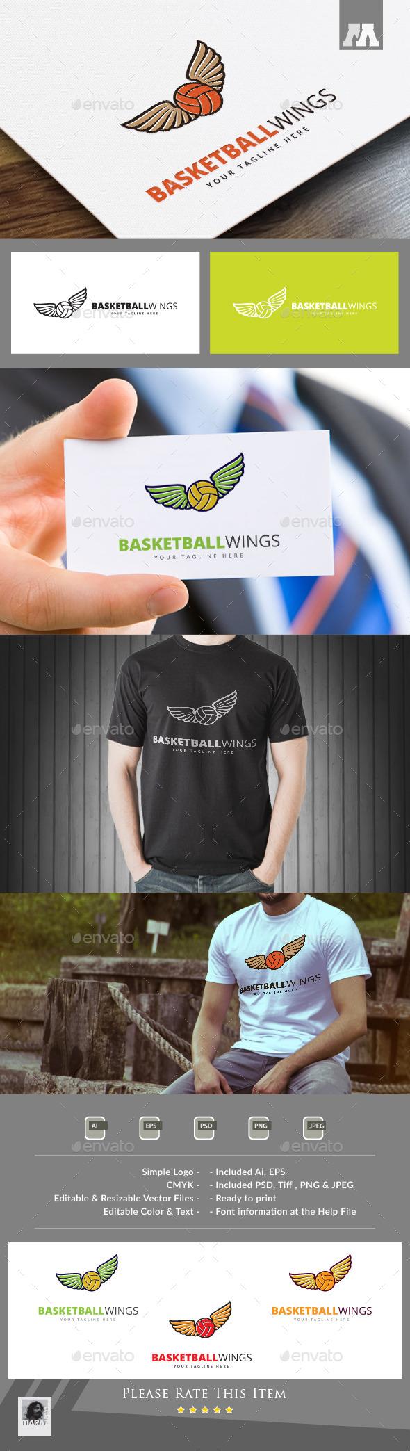 Basketball Wings Logo Template