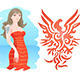 Girl with Fire Eagle Tattoo - GraphicRiver Item for Sale
