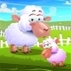 Two Sheep Cartoons on Farm Background - GraphicRiver Item for Sale