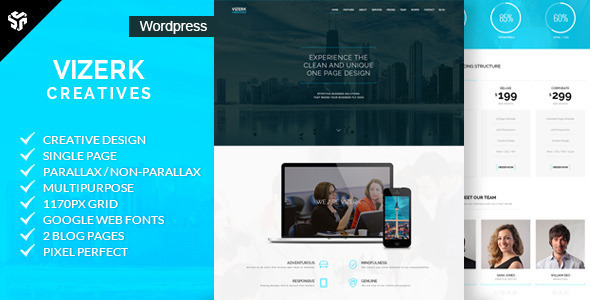 Vizerk – One Page Parallax WordPress Theme Free Download
