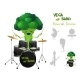 Brocolli Playing Drums with Band - GraphicRiver Item for Sale