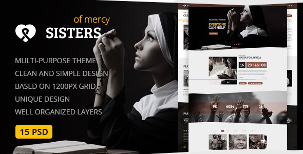 Sisters of Mercy — Nonprofit, Charity & Church PSD Template