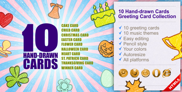 10 Hand-drawn Cards | Greeting Card Collection Download