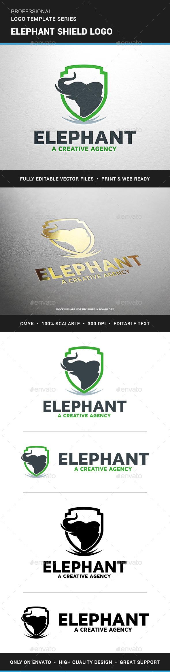 Elephant Shield Logo Template