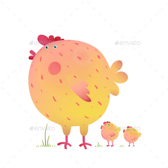 Fun Colorful Mother Chicken Bird and Babies