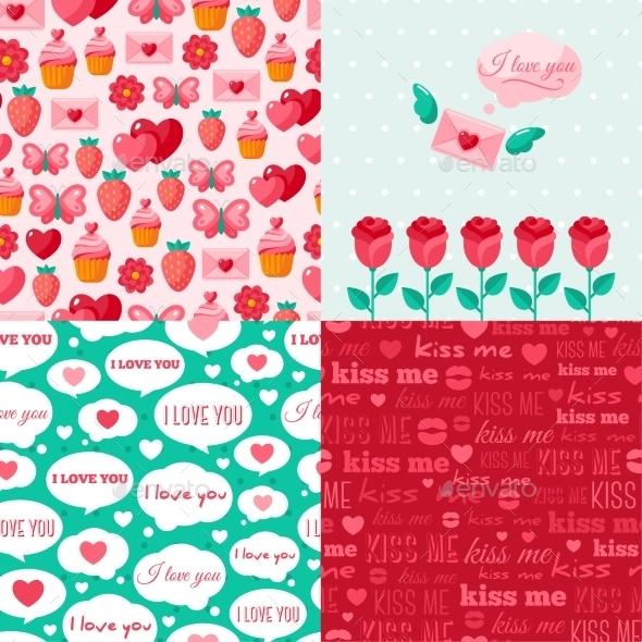 Seamless Patterns Of Valentine Symbols