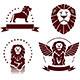 Lions Simple Emblems Set - GraphicRiver Item for Sale