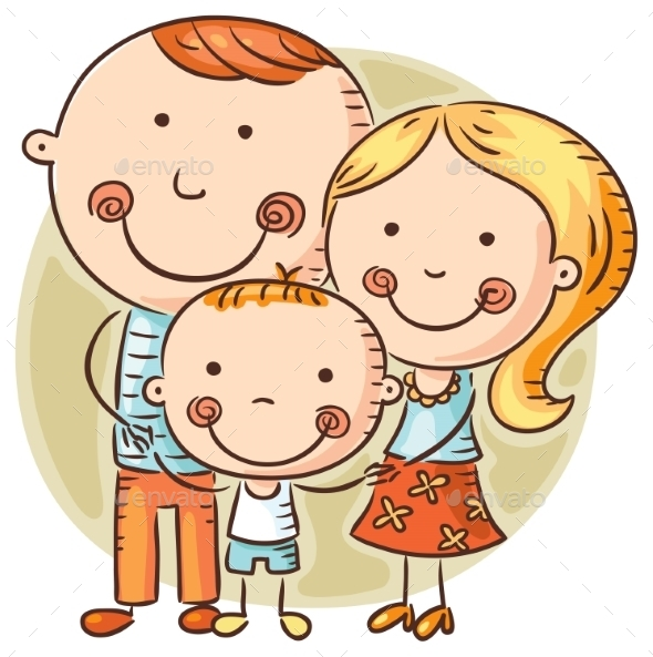 Happy Cartoon Family With One Child