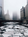 Chicago River With Ice Flows in Winter - PhotoDune Item for Sale