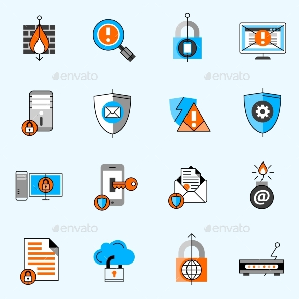 Data Security Line Icons Set