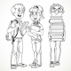 Schoolboys with Textbooks and Backpacks - GraphicRiver Item for Sale