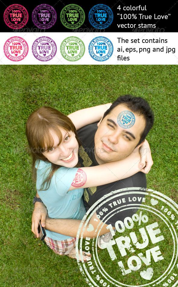 100% True Love stamps
