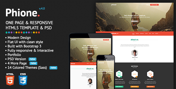 Phione - Onepage Parallax Responsive HTML Template