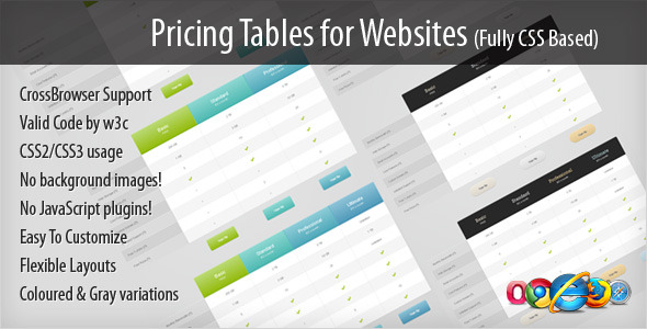 Pricing Tables for Websites (fully CSS based)