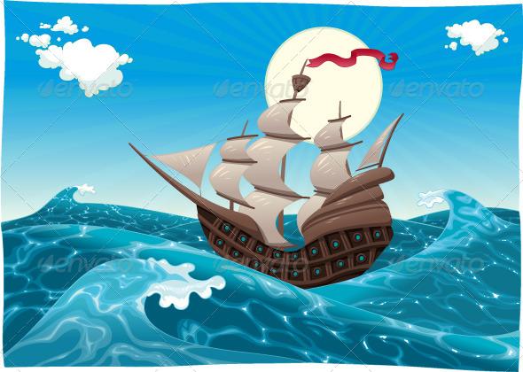 Galleon in the Sea