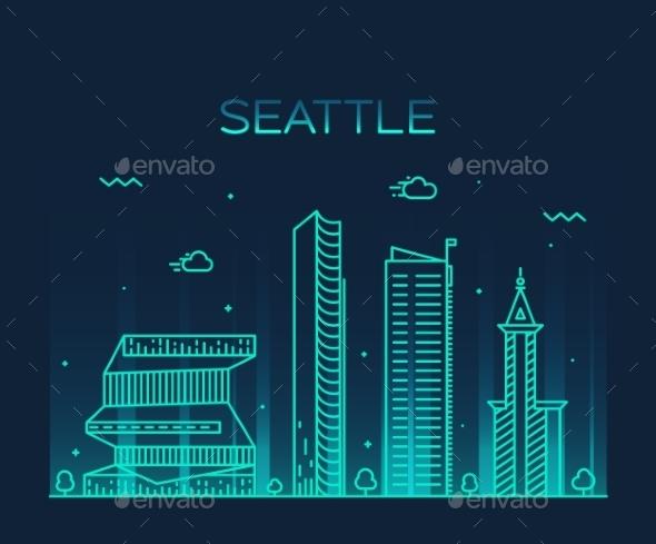 Seattle Skyline Trendy Vector Illustration Linear