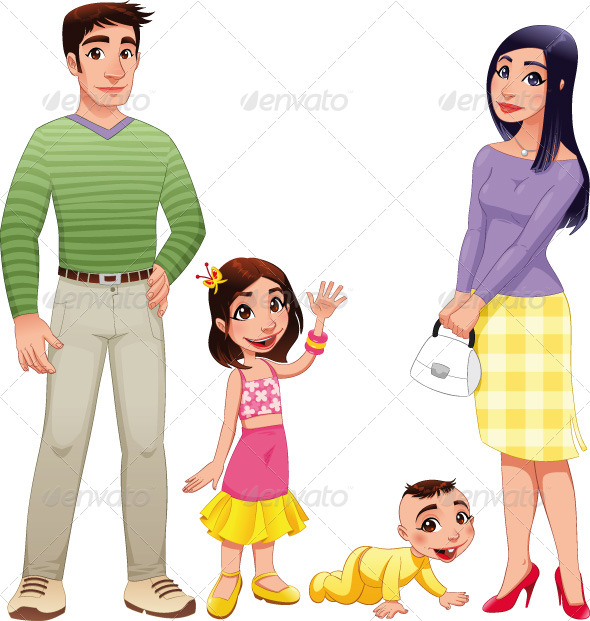 Human family with mother, father and children.