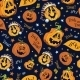 Vector Boo Pumpkins Halloween Seamless Pattern - GraphicRiver Item for Sale