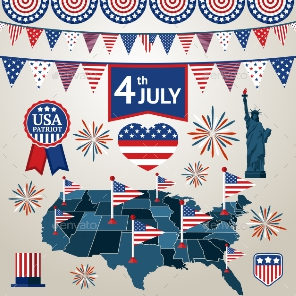 Fourth Of July Card With Different Signs