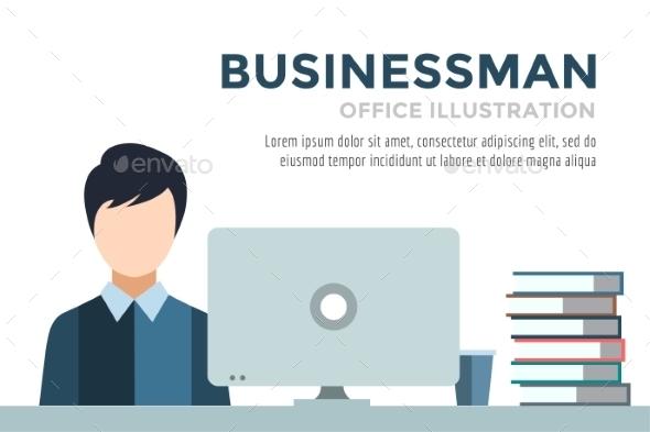 Businessman Silhouette. Business Man Work