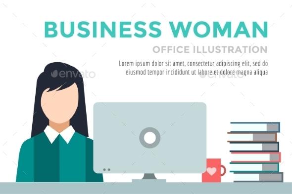 Business Woman Silhouette. Businesswoman Work