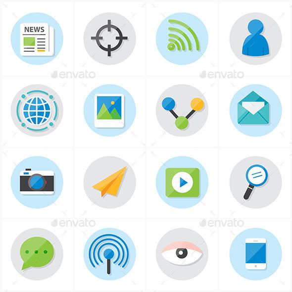 Flat Icons Communication and Web Icons Vector Illu