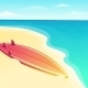 Beautiful Beach Seascape With Surf Board - GraphicRiver Item for Sale
