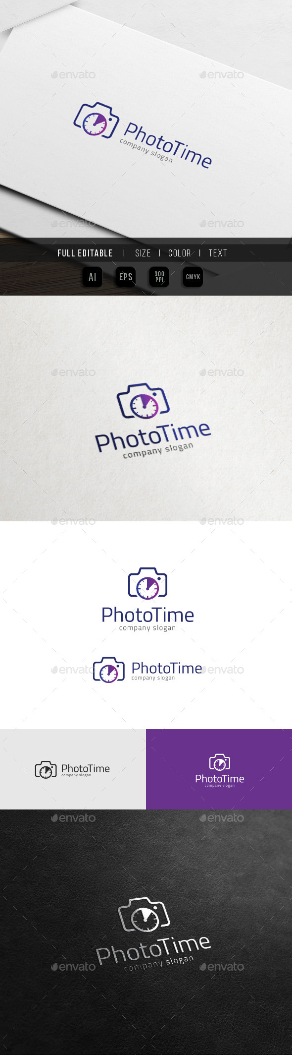 Photo Time - Camera Clock - Photography Logo