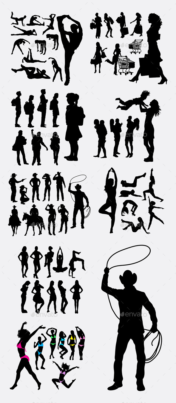People Pose Silhouettes