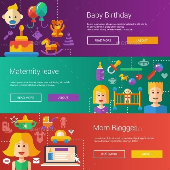 Set Of Baby, Motherhood Flat Modern Illustrations
