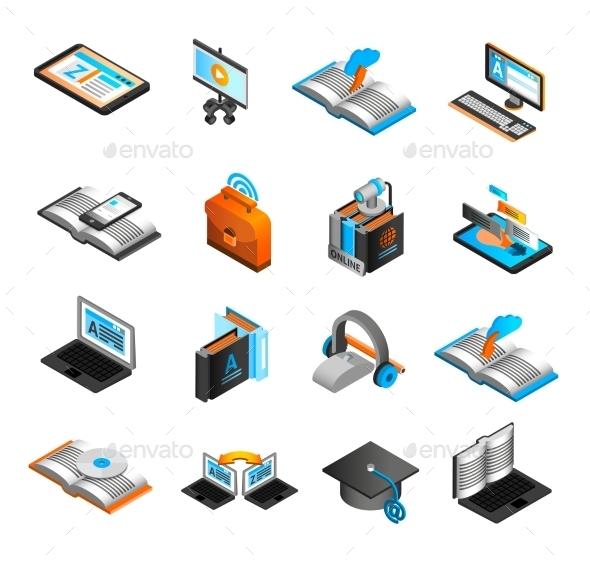 E-learning Isometric Icons Set