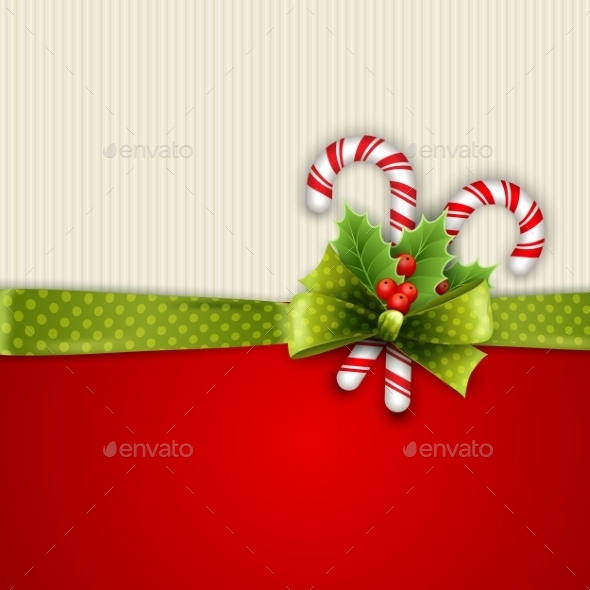 Holiday Background with Green Ribbon and Bow