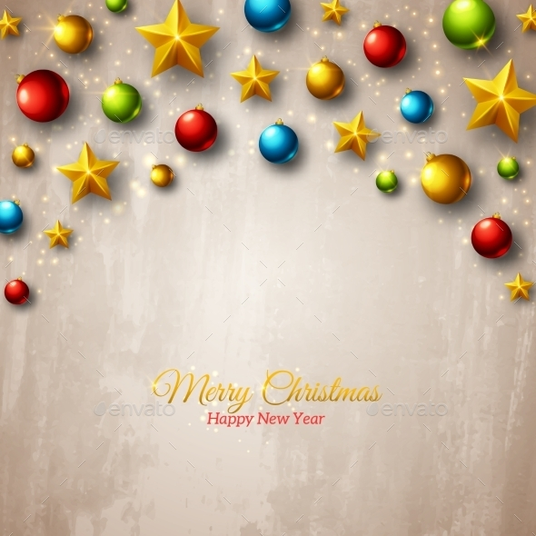 Christmas Colorful Balls And Golden Stars On