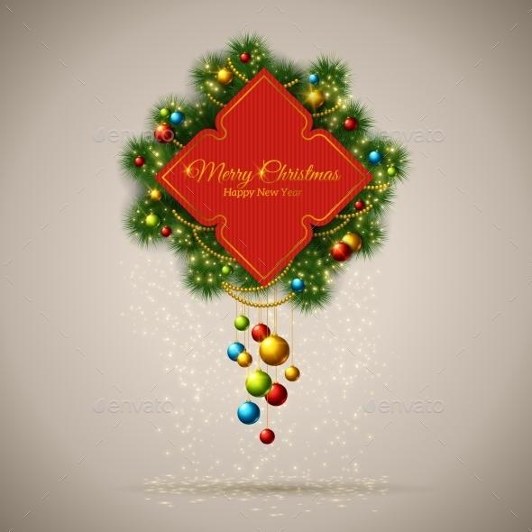 Vector Merry Christmas Frame With Fir Tree