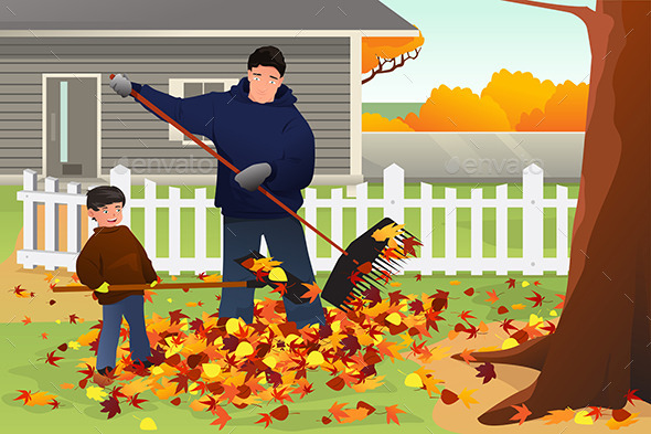 Father and Son Raking Leaves in the Yard During