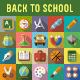 Back to School Flat Icons with Long Shadow - GraphicRiver Item for Sale