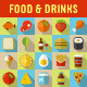 Food and Drinks Flat Icons with Long Shadow - GraphicRiver Item for Sale