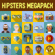 Hipster Megapack Flat Icons with Long Shadow - GraphicRiver Item for Sale