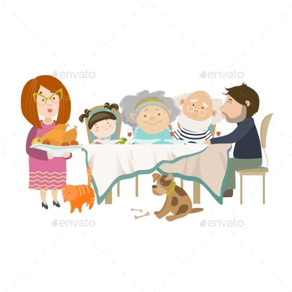 Portrait of a Family Sitting at the Table